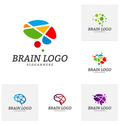 set of brain logo template brain logo concepts vector image