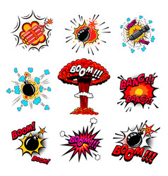 set of comic style bombs dynamite explosions vector image