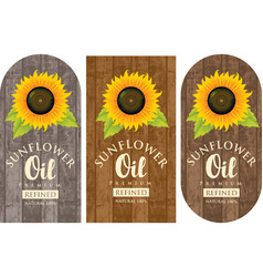 set of labels for sunflower oil with sunflower vector image