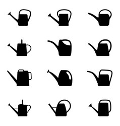 set of silhouettes of watering can vector image