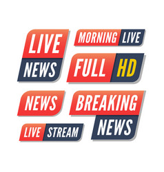 set tv banners breaking live news logos vector image
