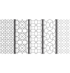 set white and grey oriental patterns vector image