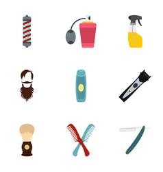 Shaving tools icons set flat style vector