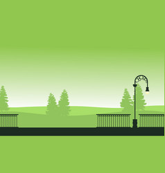 silhouette landscape garden with street lamp vector image