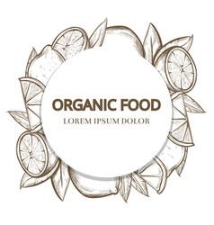 sketch lemons round banner - organic food banner vector image