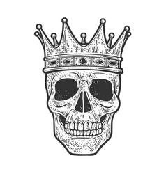 Skull in crown sketch vector