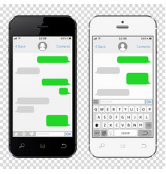 Smartphones with messaging sms app template vector