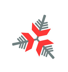 snowflake icon gray and red vector image