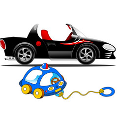 sports car and children toy vector image