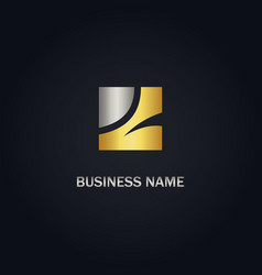square abstract gold logo vector image