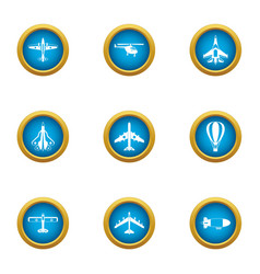 steel wing icons set flat style vector image
