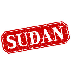 sudan red square grunge retro style sign vector image