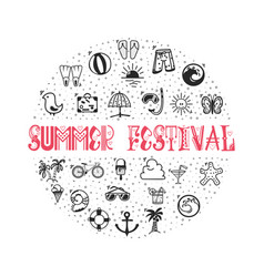 Summer festival - concept banner from icons in vector