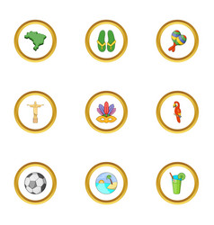 Symbols of brasil icons set cartoon style vector