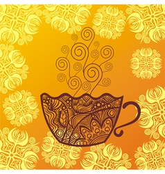 Tea coffee cup pattern background vector image