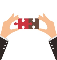 Two Business Hands connect two pieces of puzzle vector image
