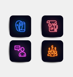 Users chat face biometrics and manual doc icons vector