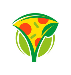 Vegan pizza logo vector