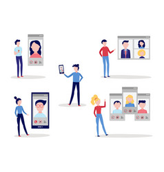 video call chat conference set with men and women vector image