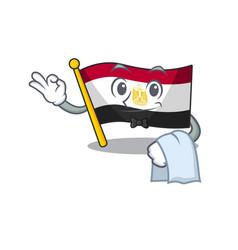 Waiter flag egypt folded in mascot cupboard vector