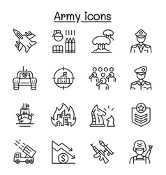 War army icons set in thin line style vector