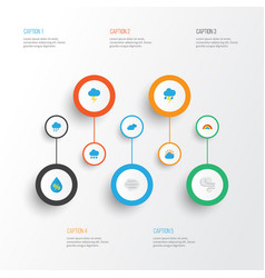 Weather flat icons set collection of bow the flash vector