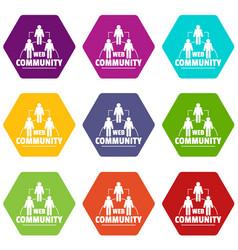 web community icons set 9 vector image