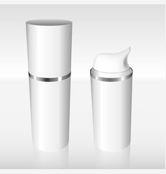 white airless bottle with a silver ring vector image