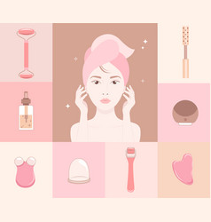 woman face silhouette and cosmetics gadgets around vector image