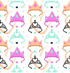 Woman symbols seamless pattern tiara crown vector
