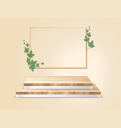 wood podium on room background presentation mock vector image