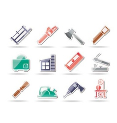 woodworking industry and woodworking tools icons vector image