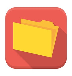 Yellow empty folder with paper flat app icon with vector image