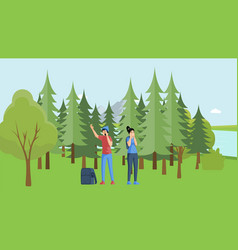 Young campers lost in forest people unknowing vector
