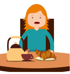 young happy girl sitting eating breakfast on table vector image