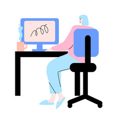 Young woman sitting backwards and working on vector