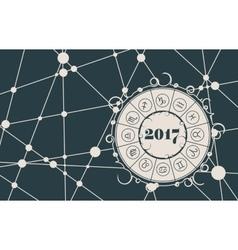 Zodiac circle on snowflakes backdrop vector