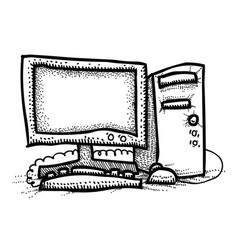 cartoon image of computer icon pc symbol vector image vector image