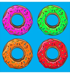 Donut with sprinkles set vector image