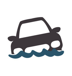 flooded car for danger weather vector image