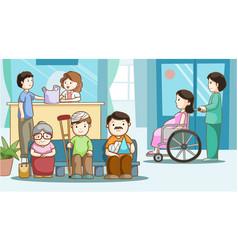 happy people in hospital vector image vector image