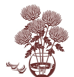 Monochrome of of chrysanthemums in a glass vase vector image