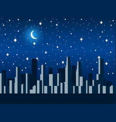 city at night with the moon and stars vector image vector image