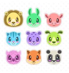 cute cartoon happy animal faces set vector image