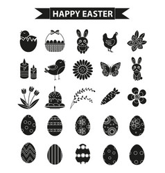 happy easter icon set black silhouette outline vector image