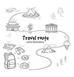 sketch travel route concept vector image vector image