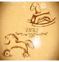 Wooden Rocking Horses vector image