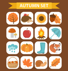 autumn icons set flat or cartoon stylecollection vector image