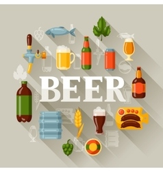 Background design with beer icons and objects vector image vector image