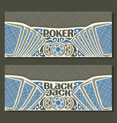 banners for black jack and poker vector image vector image
